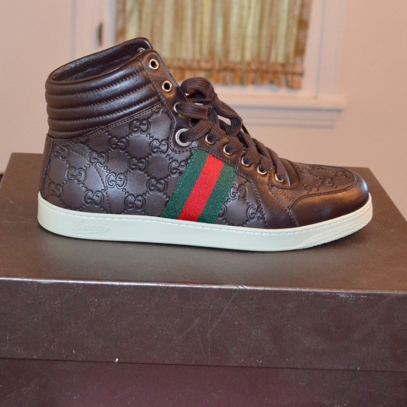 bfe6668e152 GUCCI BROWN LEATHER LOGO STRIPE SNEAKERS TRAINERS